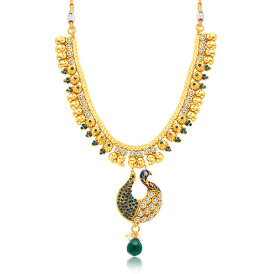 Sukkhi Exquisite Peacock Gold Plated Choker Necklace Set For Women-1