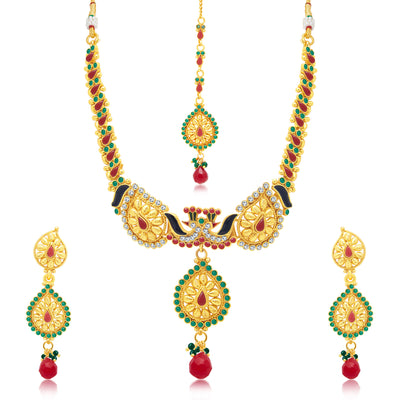 Sukkhi Marvellous Peacock Gold Plated Choker Necklace Set For Women