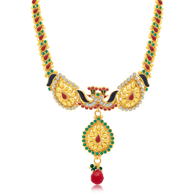 Sukkhi Marvellous Peacock Gold Plated Choker Necklace Set For Women-1