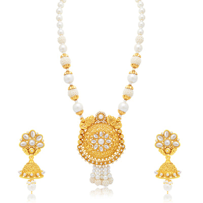 Sukkhi Artistically Peacock Gold Plated Long Haram Necklace Set For Women