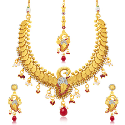 Sukkhi Excellent Peacock Laxmi Coin Gold Plated Traditional Necklace Set For Women