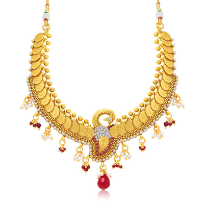 Sukkhi Excellent Peacock Laxmi Coin Gold Plated Traditional Necklace Set For Women-1