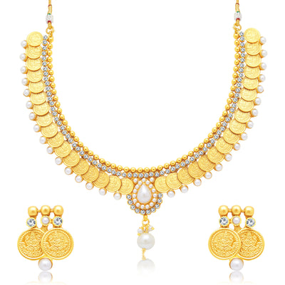 Sukkhi Gorgeous Laxmi Coin Gold Plated Traditional Necklace Set For Women