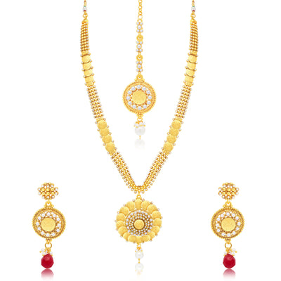 Sukkhi Fashionable Laxmi Coin Gold Plated Traditional Necklace Set For Women