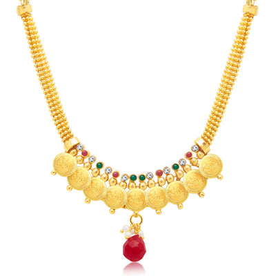 Sukkhi Sleek Laxmi Coin Gold Plated Traditional Necklace Set For Women-1