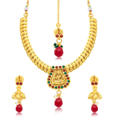 Sukkhi Luxurious Laxmi Gold Plated Choker Necklace Set For Women