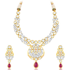 Pissara Sleek Fusion Gold Plated CZ Necklace Set For Women