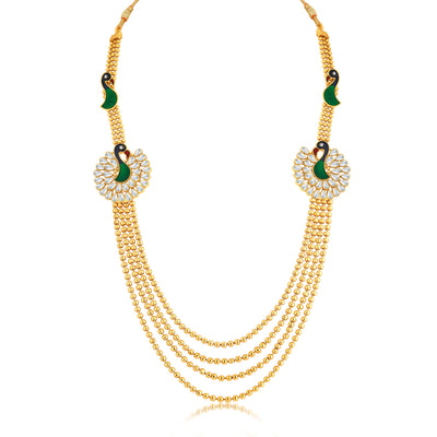 Sukkhi Luxurious Peacock 4 String Gold Plated Long Haram Necklace Set For Women-1