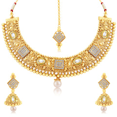 Sukkhi Stylish Gold Plated Choker Necklace Set For Women