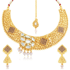 Sukkhi Marvellous Gold Plated Choker Necklace Set For Women