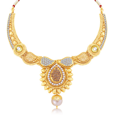 Sukkhi Sublime Gold Plated Choker Necklace Set For Women-1