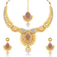 Sukkhi Sublime Gold Plated Choker Necklace Set For Women