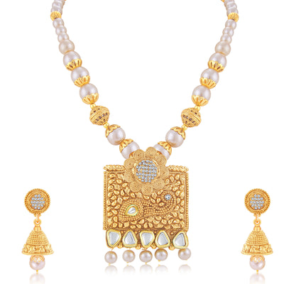 Sukkhi Glittery Jalebi Gold Plated Long Haram Necklace Set For Women