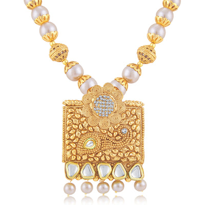 Sukkhi Glittery Jalebi Gold Plated Long Haram Necklace Set For Women-1