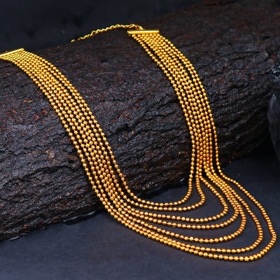 Sukkhi Ritzy 7 String Gold Plated Necklace For Women