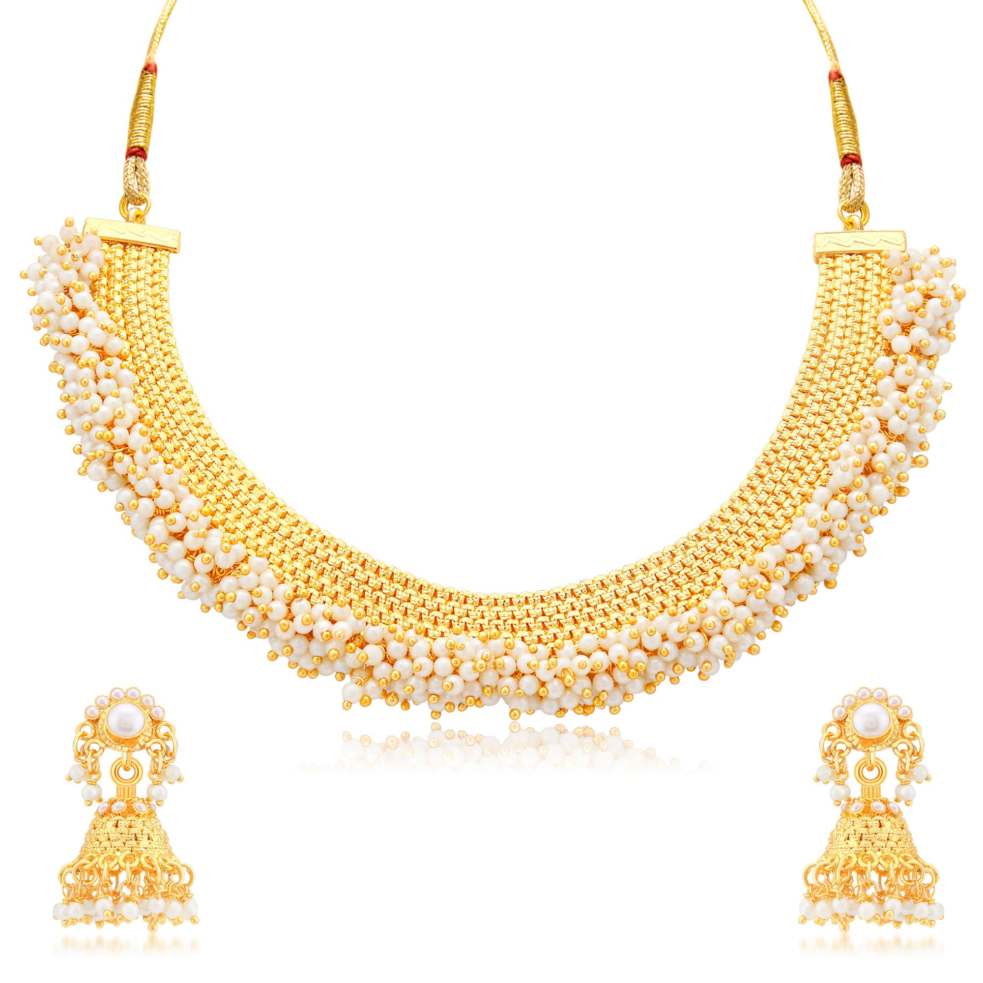 Sukkhi Traditional Gold Plated Necklace Set: Sukkhi Astonish Gold Plated Choker Necklace Set For Women