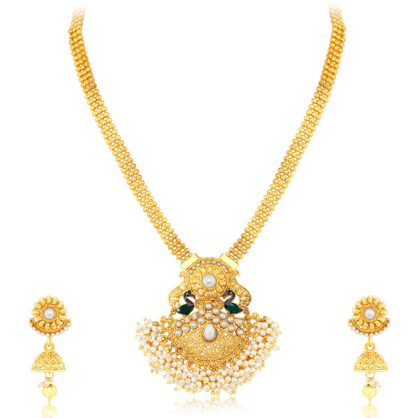 Sukkhi Stunning Peacock Gold Plated Necklace set For Women