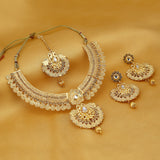0014 Sukkhi Modish Temple Gold Plated Necklace set For Women