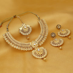 0011 Sukkhi Modish Temple Gold Plated Necklace set For Women
