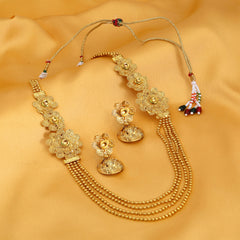 0009 Sukkhi Pleasing 4 String Jalebi Gold Plated Alloy Long Haram Necklace Set For Women