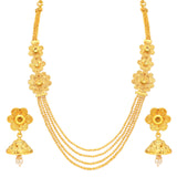 0024 Sukkhi Pleasing 4 String Jalebi Gold Plated Alloy Long Haram Necklace Set For Women