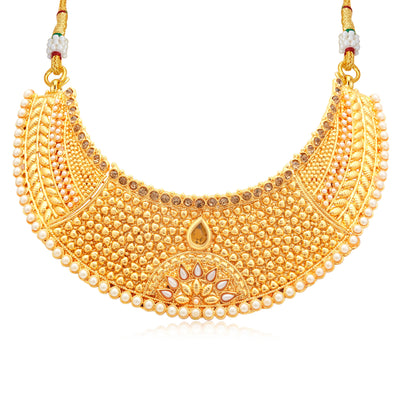 Sukkhi Astonish Gold Plated LCT Stone Choker Necklace Set For Women-1
