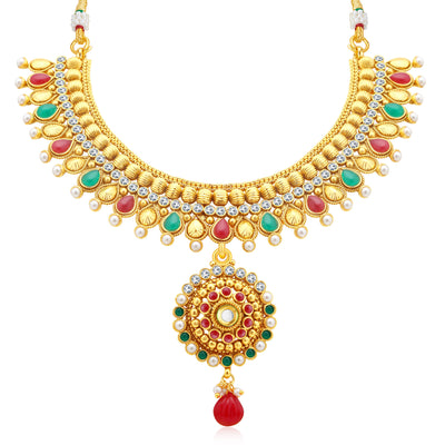 Sukkhi Gleaming Gold Plated AD Collar Necklace Set For Women-1