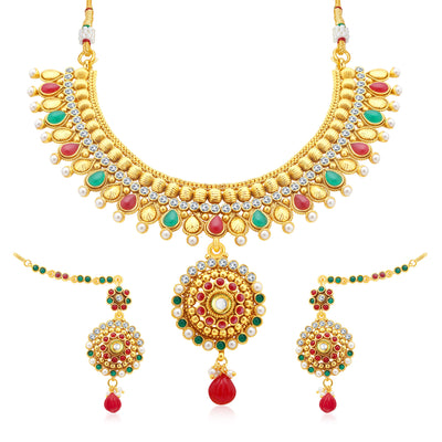 Sukkhi Gleaming Gold Plated AD Collar Necklace Set For Women