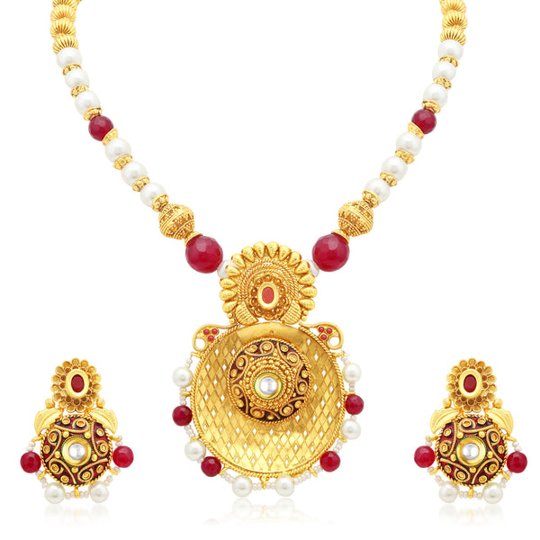 Sukkhi Fabulous Gold Plated Collar Necklace Set For Women