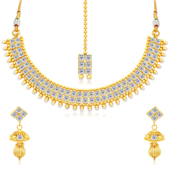 Sukkhi Glittery Gold Plated AD Collar Necklace Set For Women