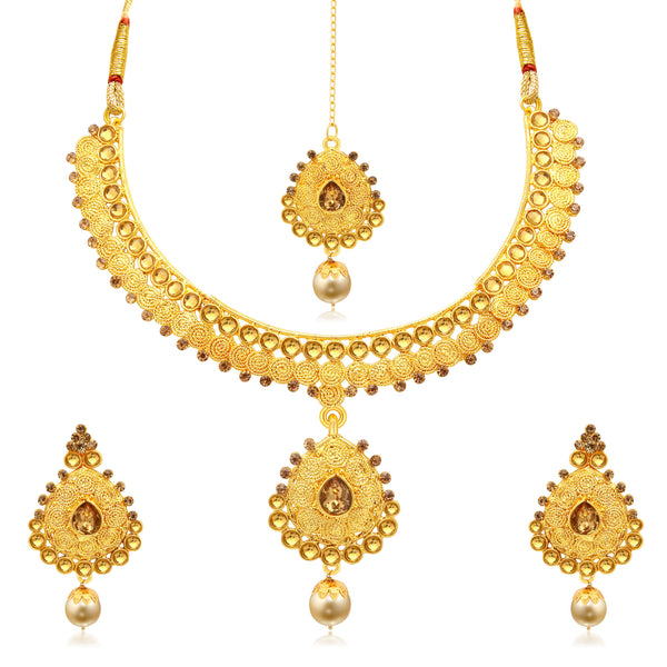 Sukkhi Ravishing Jalebi Gold Plated LCT Stone Collar Necklace Set For Women