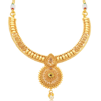 Sukkhi Alluring Jalebi Gold Plated LCT Stone Collar Necklace Set For Women-1