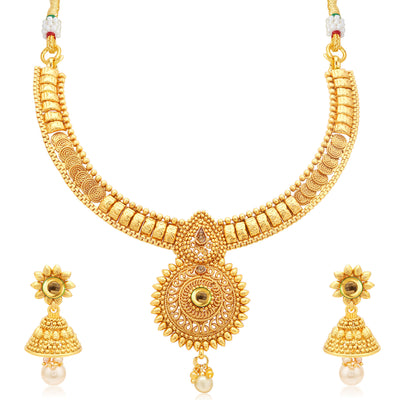 Sukkhi Alluring Jalebi Gold Plated LCT Stone Collar Necklace Set For Women