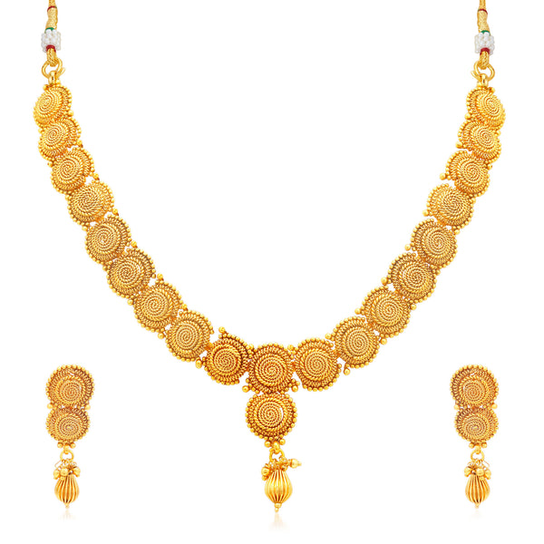 Sukkhi Glimmery Jalebi Gold Plated Collar Necklace Set For Women