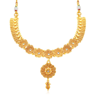 Sukkhi Stunning Jalebi Gold Plated Collar Necklace Set For Women-1