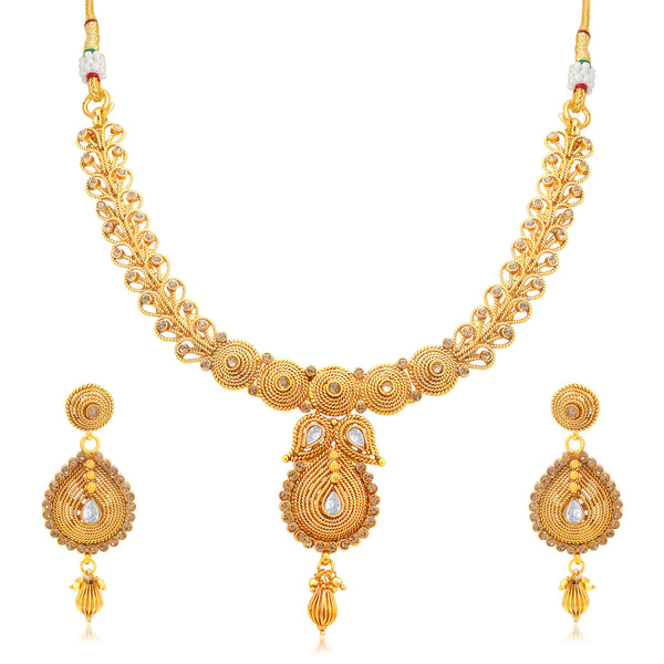 Sukkhi Artistically Jalebi Gold Plated LCT Stone Collar Necklace Set For Women