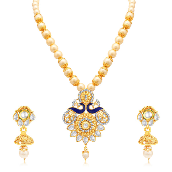 Sukkhi Angelic Peacock Gold Plated AD Princess Necklace Set For Women