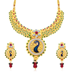 0046 Sukkhi Incredible Peacock Gold Plated AD Collar Necklace Set For Women