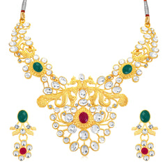 0047 Sukkhi Astonish Peacock Gold Plated AD Collar Necklace Set For Women