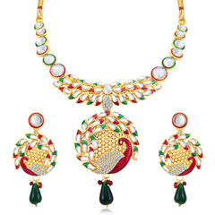 0051 Sukkhi Graceful Peacock Gold Plated AD Collar Necklace Set For Women
