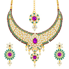 0049 Sukkhi Modish Gold Plated AD Collar Necklace Set For Women