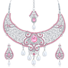 0047 Sukkhi Marvellous Rhodium Plated AD Collar Necklace Set For Women