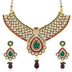 0049 Sukkhi Pleasing Gold Plated AD Collar Necklace Set For Women