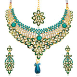 0017 Sukkhi Delightful Gold Plated AD Collar Necklace Set For Women