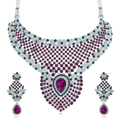 0047 Sukkhi Artistically Rhodium Plated AD Collar Necklace Set For Women