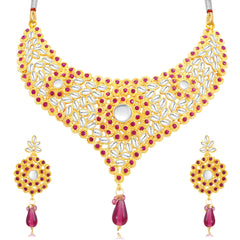 0052 Sukkhi Sublime Gold Plated AD Collar Necklace Set For Women