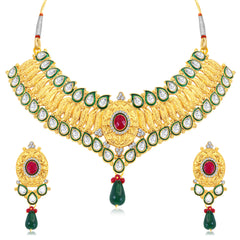 0050 Sukkhi Ritzy Gold Plated AD Collar Necklace Set For Women