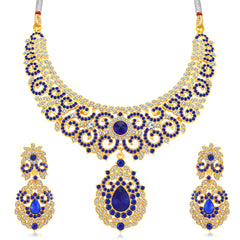 0050 Sukkhi Fascinating Gold Plated AD Collar Necklace Set For Women