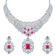 0048 Sukkhi Modern Rhodium Plated AD Collar Necklace Set For Women