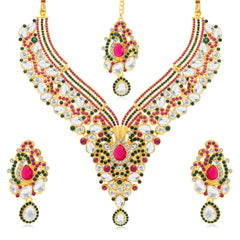 0048 Sukkhi Dazzling Gold Plated AD Collar Necklace Set For Women